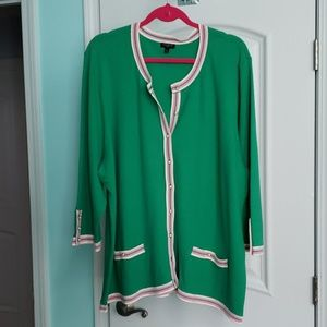 Talbots green cardigan with pearl-like buttons